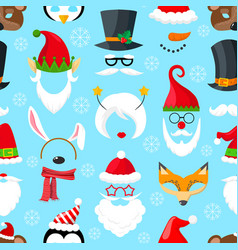 Pattern with christmas masks vector