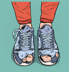 Pop art old sneakers dirty old shoes footwear vector