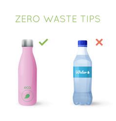 reusable water bottle instead of plastic bottle vector image