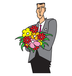 sad man with a bouquet of flowers vector image