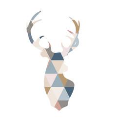 scandinavian deer in patchwork style geometric vector image