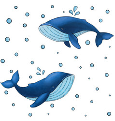 Seamless pattern with cute cartoon blue whale vector