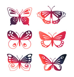 set color butterflies isolated on white vector image