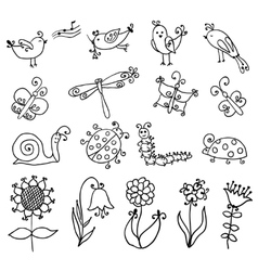 set funny cartoon insects isolated vector image