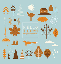 set graphic elements on autumn theme vector image