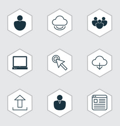 Set of 9 web icons includes save data send data vector