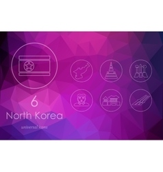 Set of north korea icons vector