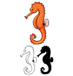 Set seahorse cartoon vector