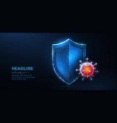 shield vs virus abstract 3d viral vector image