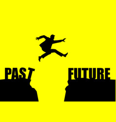 Silhouette of a man jumps from past to future vector