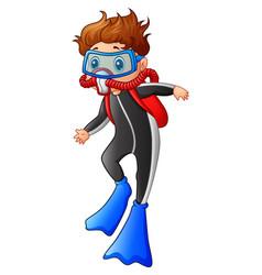 Snorkeling boy cartoon vector
