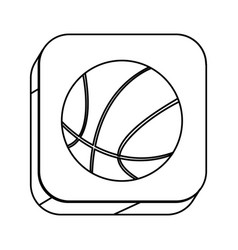 Square silhouette button with contour basketball vector