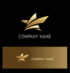 star abstract gold logo vector image