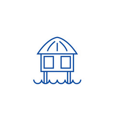 stilt house line icon concept stilt house flat vector image