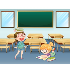 Student inside the classroom vector image