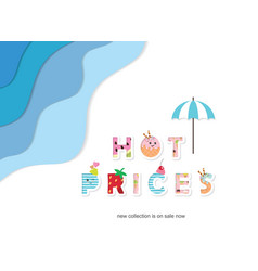 summer paper cut out banner hot prices funny vector image