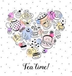 Tea time poster vector