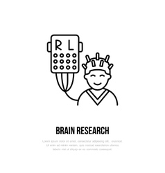 Thin line icon brain research hospital vector