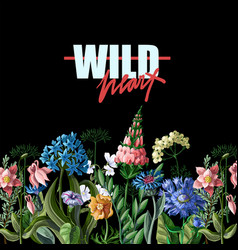 Typographical print for t-shirt with wild flowers vector