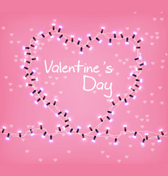 valentine day heart glowing lights vector image