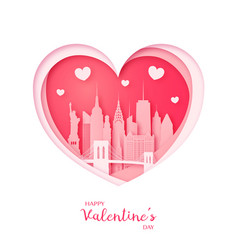 Valentines card paper cut heart and new york vector