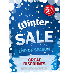 vertical sale poster on background winter vector image