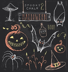 Vintage Chalkboard Halloween Hand Drawn Set vector