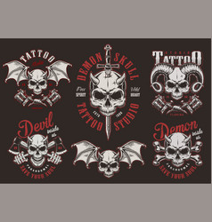 Vintage demon skull tattoo studio labels vector