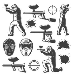 Vintage monochrome paintball club elements vector