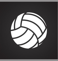 Volleyball ball icon on black background for vector
