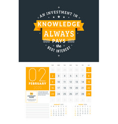 Wall calendar template for february 2020 design vector