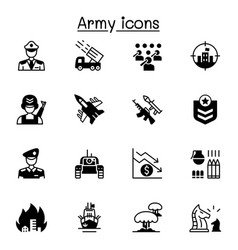War army icons set graphic design vector
