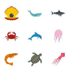 water wildlife icons set flat style vector image