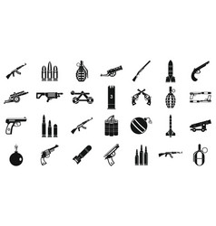 Weapons ammunition icon set simple style vector
