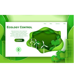 Web site paper art design template for eco vector