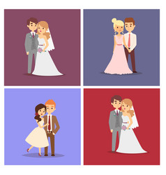 wedding couple beautiful model girl in vector image