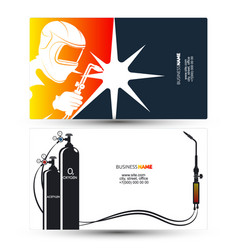 Welder with welding machine business card vector