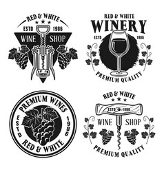 wine shop set monochrome vintage emblems vector image