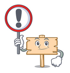 With sign wooden board character cartoon vector