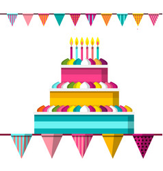 cake with lit candles and flags flat design vector image vector image
