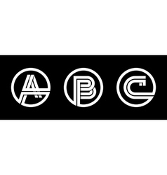 Capital letters A B C From double white stripe vector image vector image