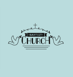 church logo with hand lettering and cross and vector image
