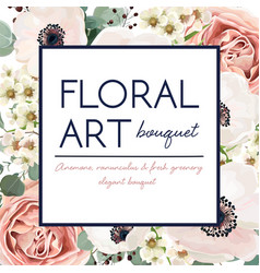 Floral card design with garden flower pink rose vector