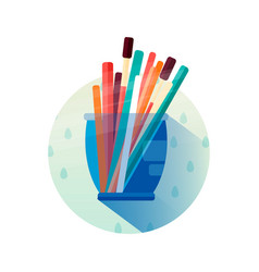 glass with pencils in flat style icon vector image vector image