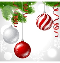 Merry Christmas background with glossy balls vector image vector image