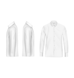 white male shirt with long sleeves and buttons vector image vector image