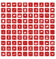 100 arrow icons set grunge red vector image vector image