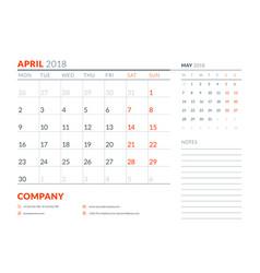 april 2018 calendar planner design template week vector image