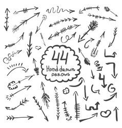 big collection of hand drawn arrows and symbols vector image vector image