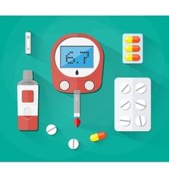 Blood glucose test strip and pills diabetes set vector